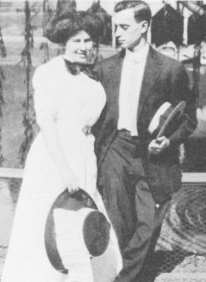 "Happier Times: 25-year-old Leo Frank, courting the 21-year-old Lucille Selig at Grant Park, Atlanta, Ga, July 17th, 1909. Exactly six years later to the day, while sleeping soundly on a prison dormitory cot at the State Penitentiary in Milledgeville, Georgia, Leo Frank would be ""shanked"" (one knife-thrust to his jugular) just before midnight. The weapon was a seven-inch butcher knife wielded by a fellow inmate, William Creen. Leo Frank barely survived the assault. One month later he was dead at the hands of a lynching party."