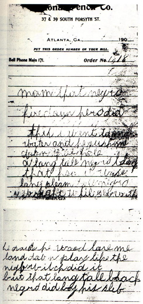 The death notes found near Mary Phagan's body - click for high resolution