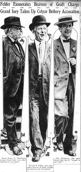 "Mayor James G. Woodward (left), leaving Grand Jury room after testifying in vice probe; Thomas B. Felder (middle), who exonerates Beavers of graft charges but declares war on Lanford; Carl Hutcheson (right), who gave Grand Jury list of ""houses in our midst."""